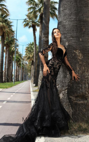Tarik Ediz 93656 Black Dress