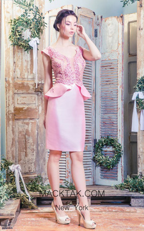 Missaki Couture MC3502 Pink Front Dress