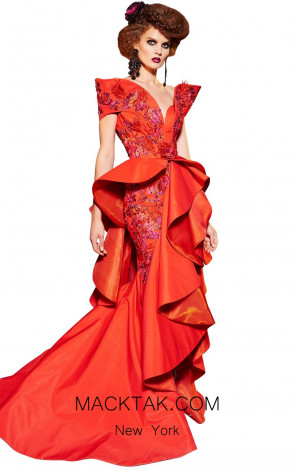MNM Fouad Sarkis 2422 Red Front Dress