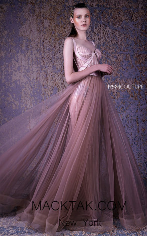 MNM G1004 Taupe Front Evening Dress