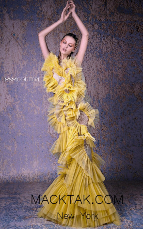 MNM G1015 Yellow Front Evening Dress