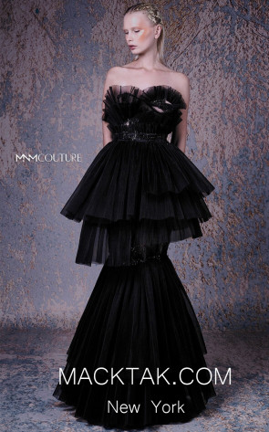 MNM G1024 Black Front Evening Dress