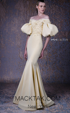 MNM G1035 Yellow Front Evening Dress