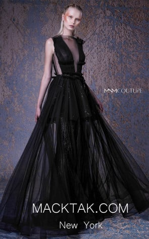 MNM G1053 Black Front Evening Dress