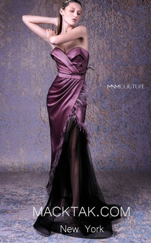 MNM G1055 Black Pink Front Evening Dress