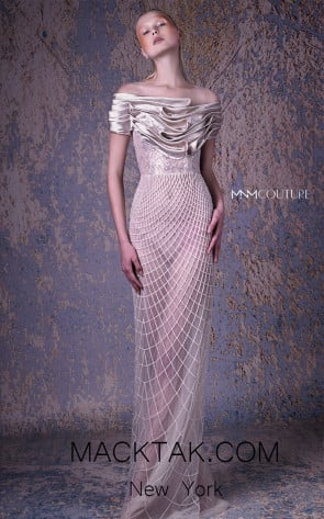 MNM G1061 Gold Front Evening Dress