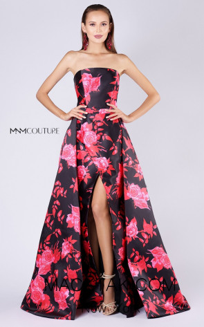 MNM M0040 Black Red Front Evening Dress