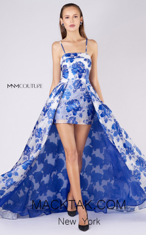 MNM M0041 White Blue Front Evening Dress