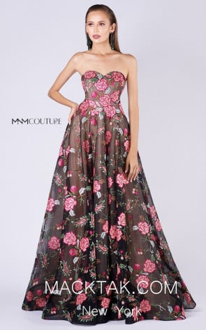 MNM M0051 Black Red Front Evening Dress
