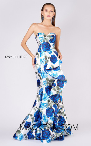MNM M0055 White Blue Front Evening Dress