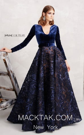 MNM N0263 Navy Front Evening Dress