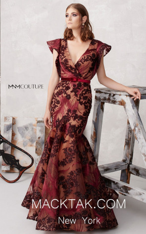 MNM N0265 Burgundy Front Evening Dress