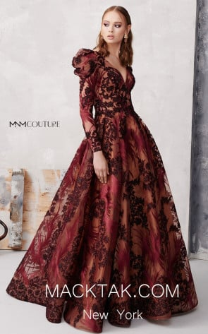 MNM N0266 Burgundy Front Evening Dress
