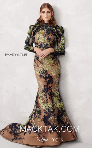 MNM N0268 Navy Pistache Front Evening Dress