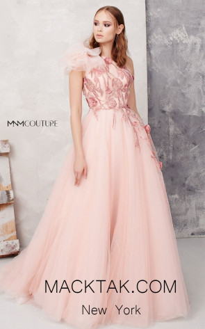 MNM N0278 Pink Cream Front Evening Dress