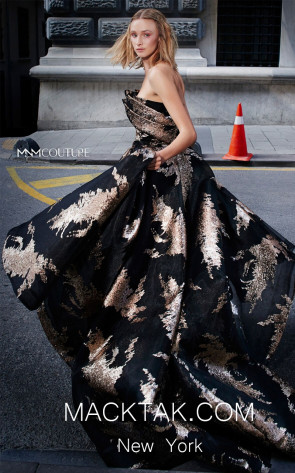 MNM N0290 Black Front Evening Dress
