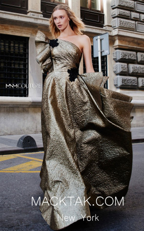 MNM N0291 Gold Blue Front Evening Dress