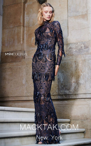 MNM N0293 Navy Blue Front Evening Dress