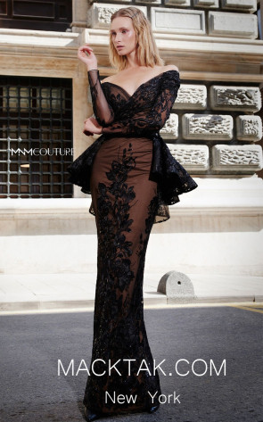 MNM N0295 Black Front Evening Dress