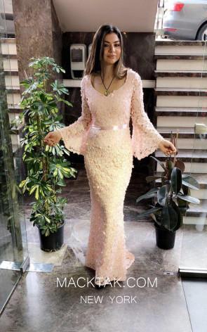 TK MT3990 Cream Front Evening Dress