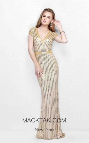 Primavera Couture 1709 Champagne Front Dress