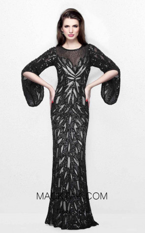 Primavera Couture 1717 Black Front Dress