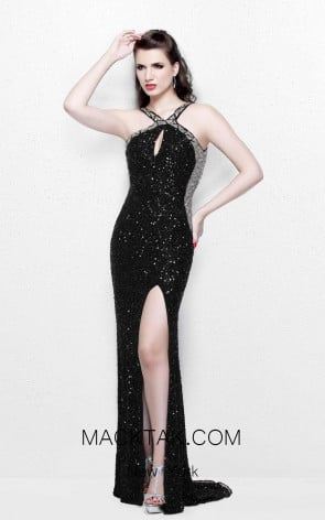 Primavera Couture 1718 Black Front Dress