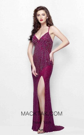 Primavera Couture 1818 Plum Front Dress