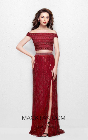 Primavera Couture 3020 Burgundy Front Dress