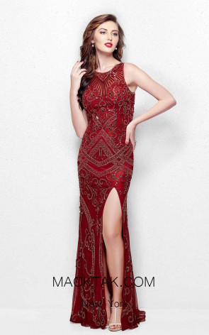 Primavera Couture 3037 Burgundy Multi Front Dress