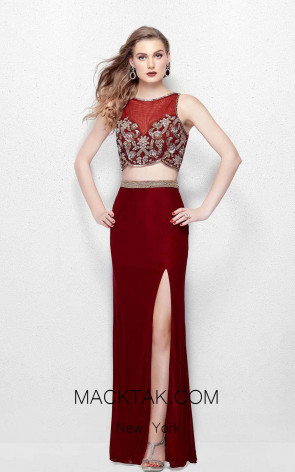 Primavera Couture 3063 Burgundy Front Dress