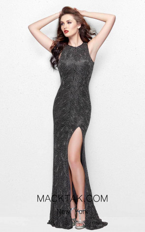 Primavera Couture 3018 Charcoal Front Dress