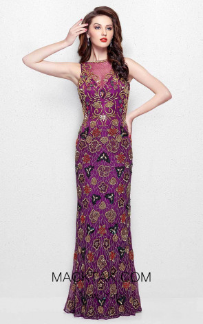 Primavera Couture 3067 Plum Multi Front Dress