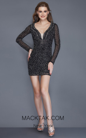 Primavera Couture 3140 Black Front Dress