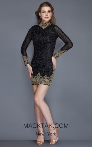 Primavera Couture 3150 Black Front Dress