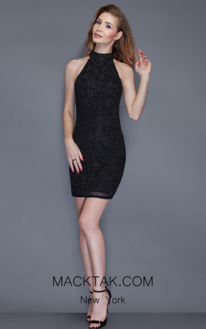 Primavera Couture 3153 Black Front Dress