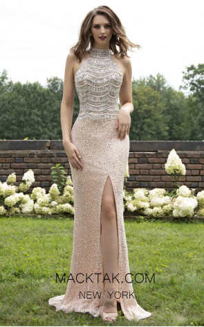Primavera Couture 3203 Front Peach Prom Dress