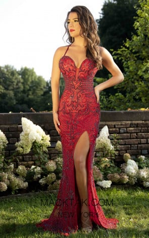 Primavera Couture 3212 Front Red Gunmetal Prom Dress