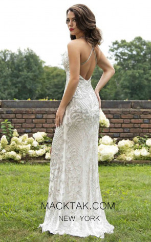 Primavera Couture 3214 Back Ivory Dress