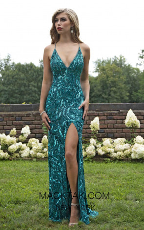 Primavera Couture 3223 Front Teal Dress