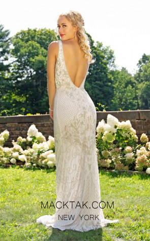 Primavera Couture 3232 Back White Silver Dress