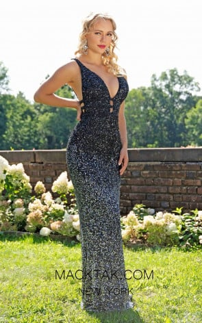 Primavera Couture 3239 Front Black Silver Dress