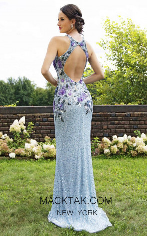 Primavera Couture 3240 Back Powder Blue Dress