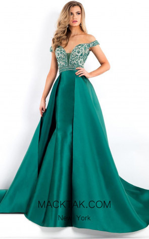 Rachel Allan 5950 Hunter Green Front Evening Dress