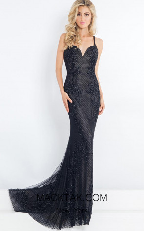 Rachel Allan 5975 Black Front Evening Dress