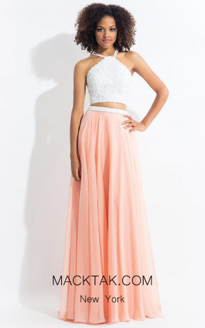 Rachel Allan 6112 White Blush Front Evening Dress