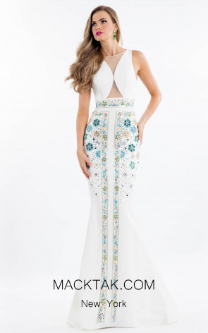 Rachel Allan 7529 White Front Evening Dress
