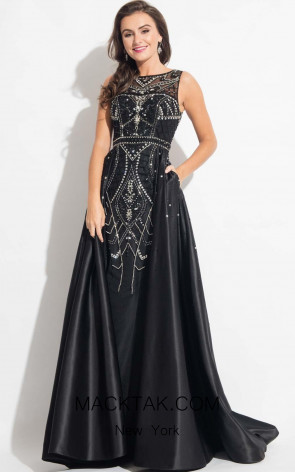 Rachel Allan 7699 Black Front Evening Dress
