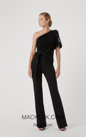 Rachel Gilbert RG20036 Black Front Evening Dress