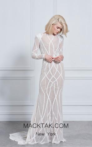 Rachel Gilbert RG60182 Ivory Front Evening Dress